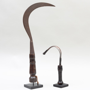 Two African Metal and Wood Sickles