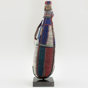 Maasai Beaded Gourd Vessel with Handle, Southern Kenya or Northern Tanzania