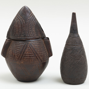 Zaire Carved Wood Powder Flask and an Enema Bottle, Democratic Republic of Congo