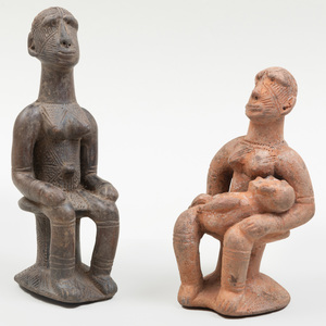 Two Frafra Terracotta Figural Pipes, Ghana