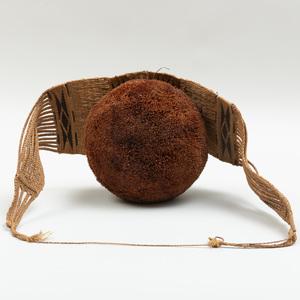 Mongo Nkundo Woven Fiber and Globular Tufted Raffia Ceremonial Belt, Democratic Republic of the Congo