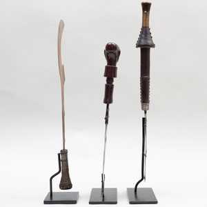 Two African Iron and Wooden Swords together with a Metal Hook