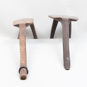 Two Lobi Wooden Tripod Stools, Burkina Faso