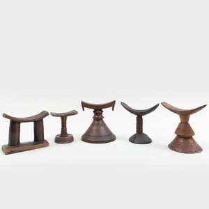 Group of Five African Wooden Headrests