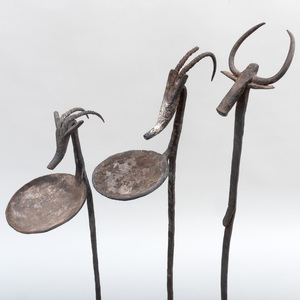 Two Bamana Iron Ceremonial Oil Lamps with a Bamana Iron Staff, Mali