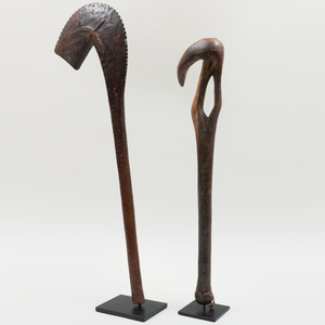 Two African Wooden Clubs