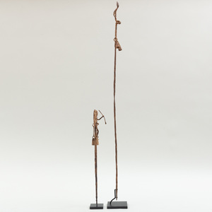 Two Dogon Iron Figural Staffs, Mali