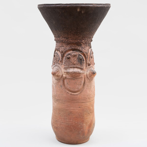 Large Nupe Cylindrical Terracotta Vessel, Nigeria