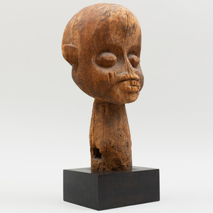 Large Bamileke Wood Carving of a Male Head, Cameroon