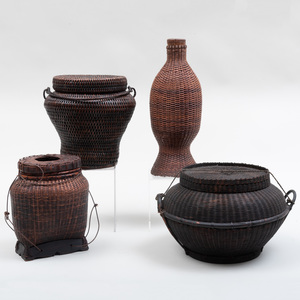 Group of Three Southeast Asian Woven Covered Baskets