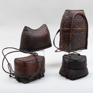 Group of Three Southeast Asian Woven Covered Baskets, probably Ifugao, Philippines