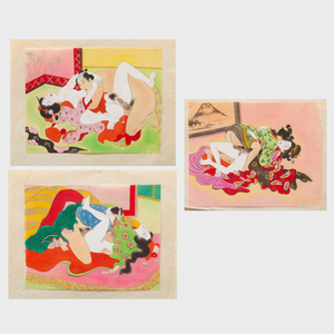 Japanese School: Shunga Paintings: Three Images