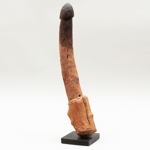 African Carved Wood Phalus of Considerable Size
