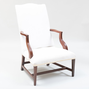 Federal Mahogany Lolling Chair, probably North Shore Massachusettes