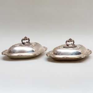 Pair of Victorian Silver Entree Dishes, Covers, and Liners