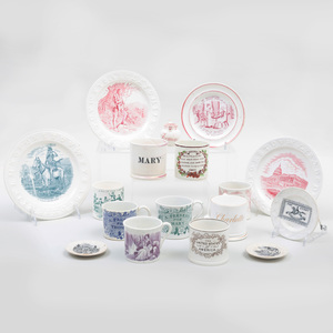 Group of American Theme and Children's Transfer Printed Wares