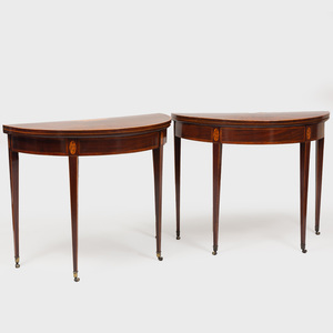 Pair of George III Inlaid Mahogany Demilune Games Tables
