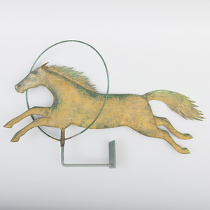 A.L. Jewell & Co. Gilt-Copper Flying Horse with Hoop Weathervane