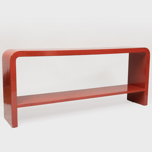Modern Red Lacquer Console with Waterfall Edge