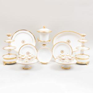Group of Paris Porcelain Gold Band Serving Pieces