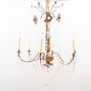 Pair of Italian Giltwood and Glass Six-Light Chandeliers
