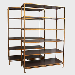 Pair of Brass and Leather Six-Tier Bookcases, in the Manner of Billy Haines