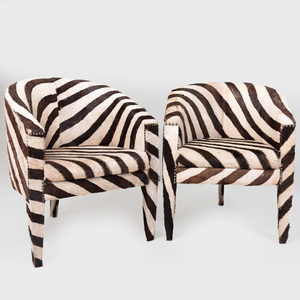 Pair of Zebra Print Calf Skin Tub Chairs