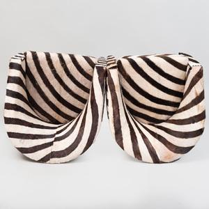 Pair of Zebra Print Calf Skin Tub Chairs
