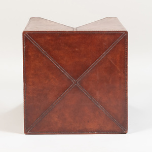 Leather Mounted Side Table, of Recent Manufacture