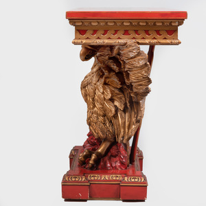 George III Style Red Japanned and Parcel-Gilt Eagle Console Table