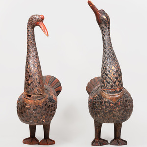 Two Carved and Polychrome Decorated Indonesian Geese