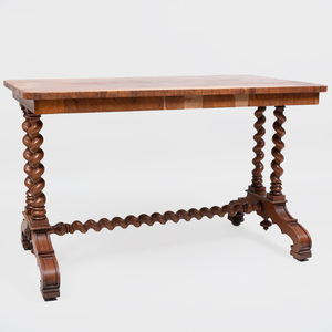 Victorian Style Oak Barley Twist Trestle Table with Figured Top