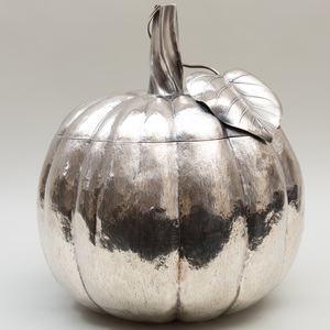 Large Italian Silver Pumpkin Form Vessel