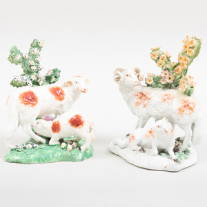 Two Derby Porcelain Bocage Figure Groups of Sheep