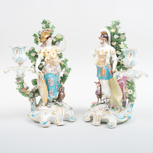 Pair of Chelsea Porcelain Bocage Figural Candlesticks with Minerva and Mars