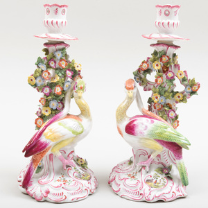 Pair of English Porcelain Candlesticks with Fantastical Birds, Possibly Chelsea