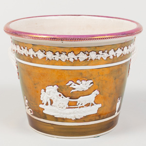 English Lusterware Flower Pot with Mythological Scenes in Relief