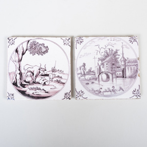 Two Delft Manganese Tiles