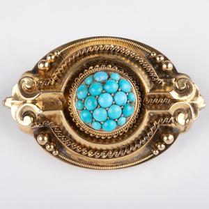 Victorian Gold and Turquoise Mourning Brooch