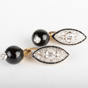 Art Deco Diamond, Platinum, Gold and Black Onyx Cuff Links