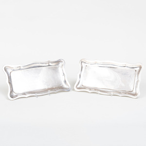Two Hungarian Shaped Silver Trays