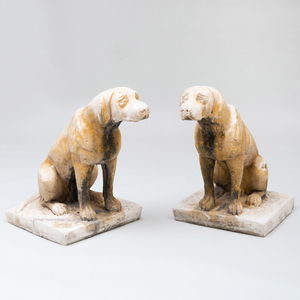 Pair of French Painted Composition Seated Dogs