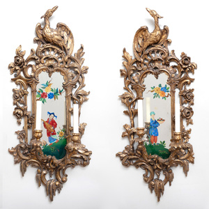 Four George II Style Giltwood and Reverse Painted Two-Light Girandole Mirrors