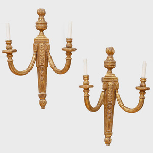 Group of Five Louis XVI Style Gilt-Wood Sconces