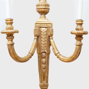 Group of Five Louis XVI Style Gilt-Wood Sconces