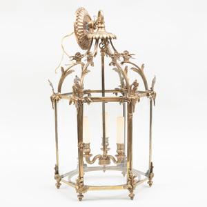 Small Louis XV Style Gilt-Bronze Three-Light Hall Lantern