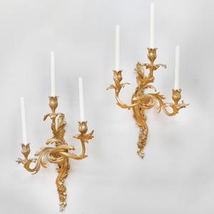Pair of Louis XV Style Ormolu Three-Light Sconces