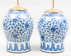 Two Similar Chinese Blue and White Porcelain Baluster Form Lamps