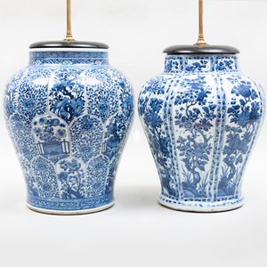 Two Similar Chinese Blue and White Porcelain Ginger Jar Lamps