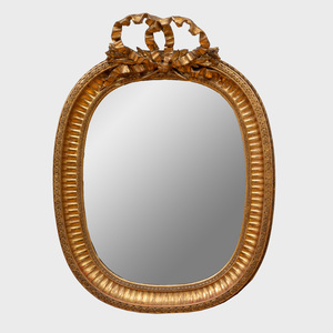French Giltwood Oval Mirror